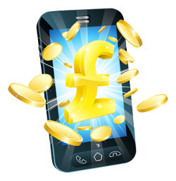Image showing mobile with rewards as money and coins